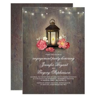 Cartão Festa de noivado rústica do celeiro da madeira e
