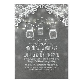 Cartão Festa de noivado rústica do laço dos frascos de