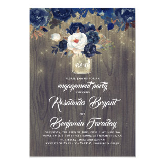 Cartão Festa de noivado rústica floral do frasco de