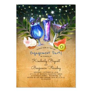 Cartão Festa de noivado tropical dos cocktail dos elogios