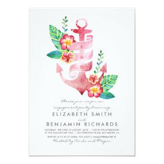 Cartão Festa de noivado tropical náutica da praia da