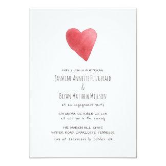 Cartão Festa de noivado vermelha minimalista do coração