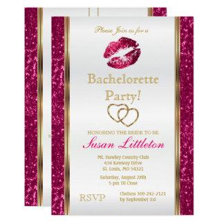 Cartão Festa de solteira 2 dos lábios do brilho do rosa
