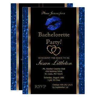 Cartão Festa de solteira azul escuro dos lábios do brilho
