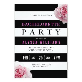 Cartão Festa de solteira branca e cor-de-rosa preta dos