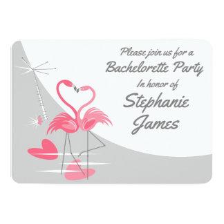 Cartão Festa de solteira da lua do amor do flamingo