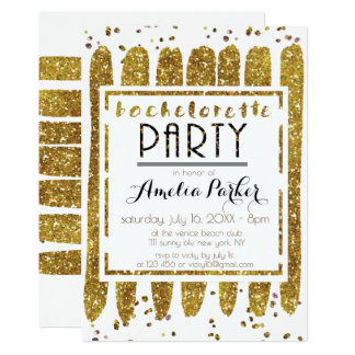 Cartão Festa de solteira de brilho do ouro glamoroso