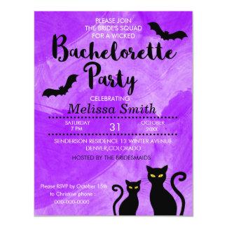 Cartão Festa de solteira de Witchy o Dia das Bruxas dos