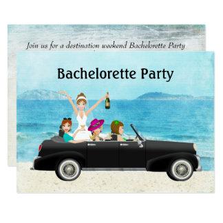 Cartão Festa de solteira do casamento de praia do destino