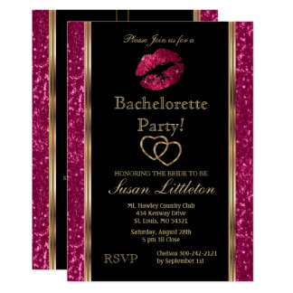 Cartão Festa de solteira dos lábios do brilho do rosa
