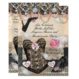 Cartão Festa de solteira elegante e elegante da lingerie