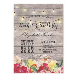 Cartão Festa de solteira floral de madeira rústica clara