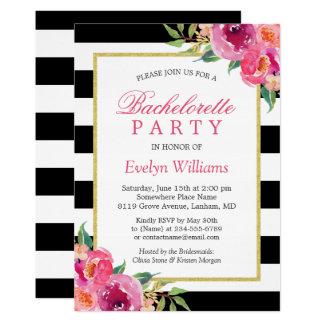 Cartão Festa de solteira floral fúcsia cor-de-rosa
