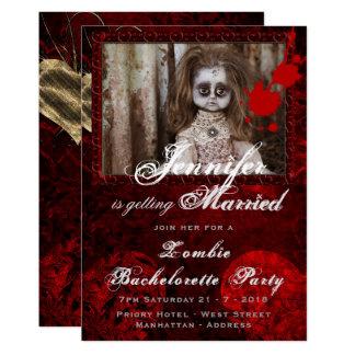 Cartão Festa de solteira o Dia das Bruxas da BONECA da