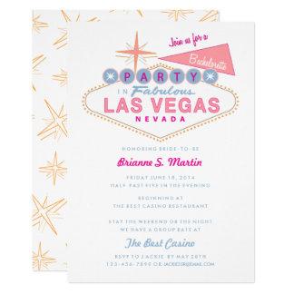 Cartão Festa de solteira retro do sinal de Las Vegas