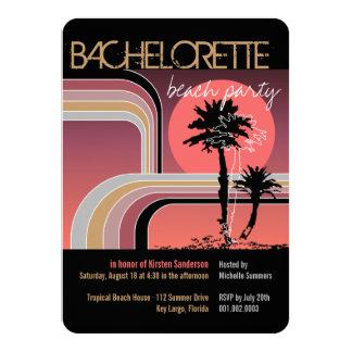 Cartão Festa de solteira tropical da palmeira do por do