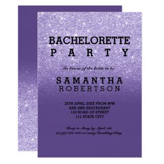 Cartão Festa de solteira ultravioleta roxa do brilho