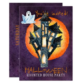 Cartão Festa em casa assombrada do Dia das Bruxas
