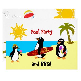 Cartão Festa na piscina do pinguim/partido da praia