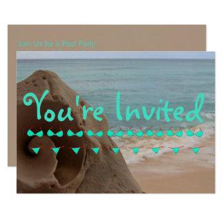 Cartão Festa na piscina personalizada do tema | da praia