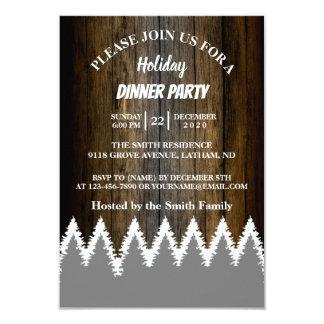 Cartão Festa natalícia de madeira rústica da árvore de