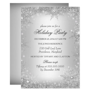 Cartão Festa natalícia de prata do Natal do país das
