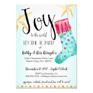 Cartão Festa natalícia festiva da meia & das estrelas