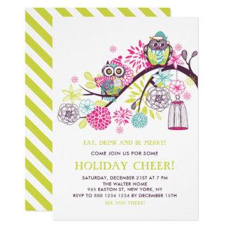 Cartão Festa natalícia floral bonito colorida das corujas