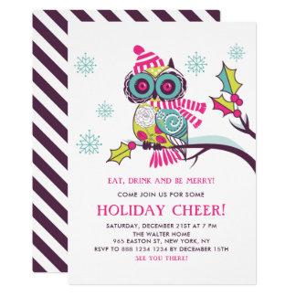 Cartão Festa natalícia floral colorida da coruja do Natal