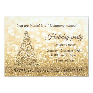 Cartão Festa natalícia glittery da empresa da árvore de