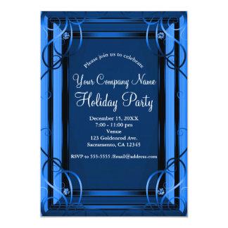 Cartão Festa natalícia incorporada de Azul Elegante