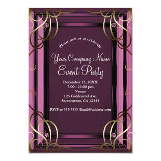 Cartão Festa natalícia incorporada de Malva Ouro Elegante