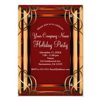 Cartão Festa natalícia incorporada de Vermelho & Ouro