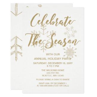 Cartão Festa natalícia moderna do branco e do ouro