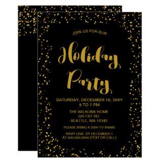 Cartão Festa natalícia moderna dos confetes do preto e do