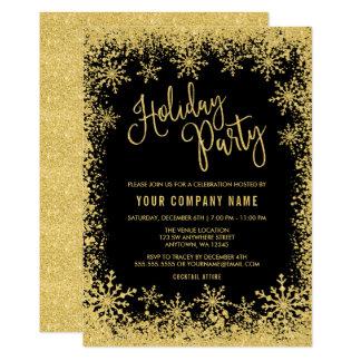 Cartão Festa natalícia preta dos flocos de neve do brilho