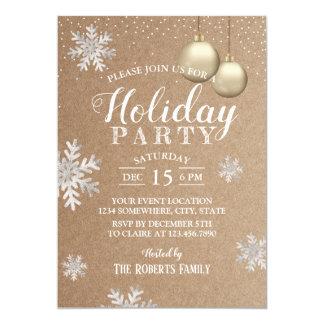 Cartão Festa natalícia rústica Kraft dos flocos de neve