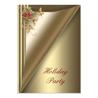 Cartão Festa natalícia vermelha do Natal do ouro