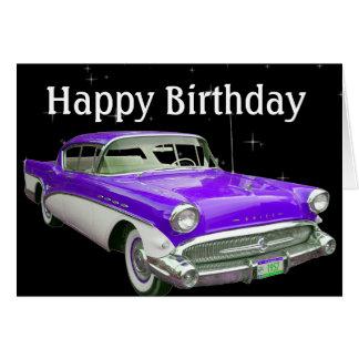 Cartão Festança clássica roxa do aniversário do carro do
