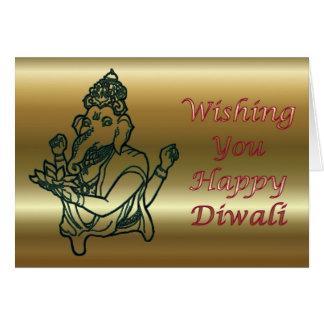 Cartão Festival de Diwali de luz indiano com Ganesha
