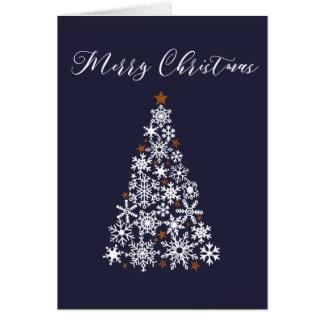 Cartão Cartão festivo da árvore de Natal do floco de neve