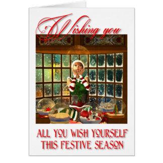 Cartão festivo encantador da estação da oficina do