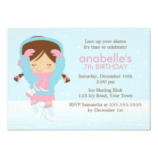 Cartão Figura bonito aniversário do patinador