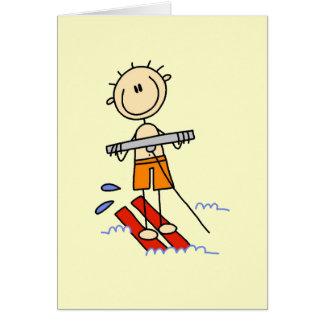Cartão Figura camiseta e presentes da vara do esqui