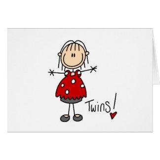 Cartão Figura da vara que espera gêmeos