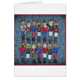 Cartão Figuras do natal vintage, soldados idosos