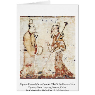 Cartão Figuras pintadas em um cerâmico