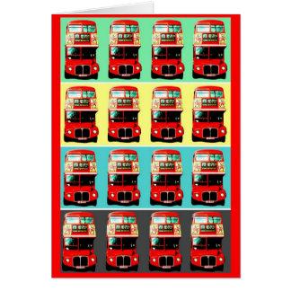 Cartão Fileiras retros do ônibus 4 de Londres