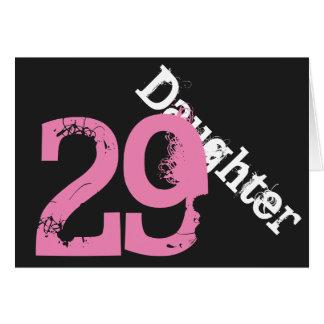 Cartão Filha, 29o aniversário, branco, cor-de-rosa no