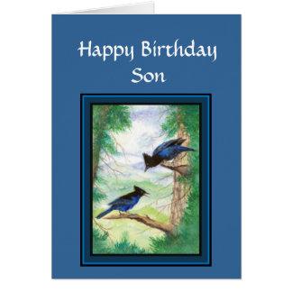 Cartão Filho do aniversário - pássaro estelar de Jay,